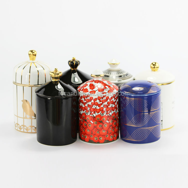 2019 summer new items various designs colorful decal empty ceramic center piece candle jar with lid for home fragrance