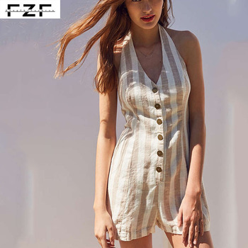 New Sexy Backless V-neck Sleeveless Linen Stripe ladies Short Jumpsuit
