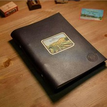 Custom embossed Genuine leather notebook cover with printing logo