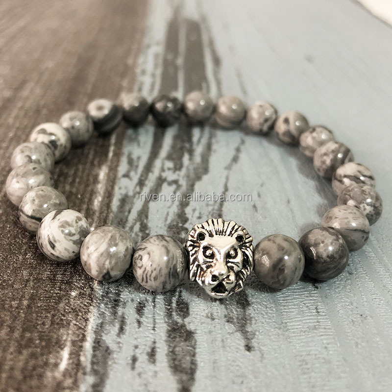 SN0796 Men Lion Natural stone beaded bracelet for mans fancy jasper bracelet