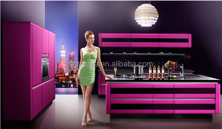 Purple Fashionable modern custom high gloss Laquer kitchen cabinet from China