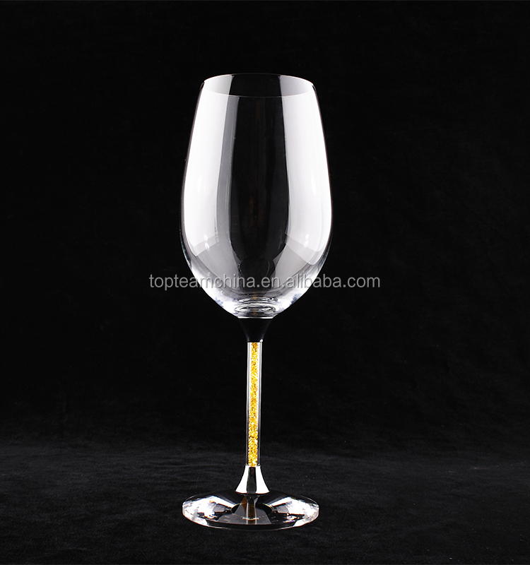 Elegant red wine glass with crystal colorful stem perfert tableware for wedding ,party,event