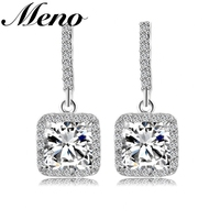 Crystal, rhinestone women jewelry square shape diamond main stone victorian style chandelier earrings