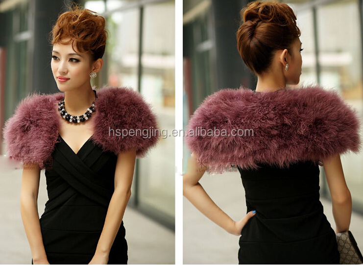 Stylish women's fashion ostrich feather black fur shawl