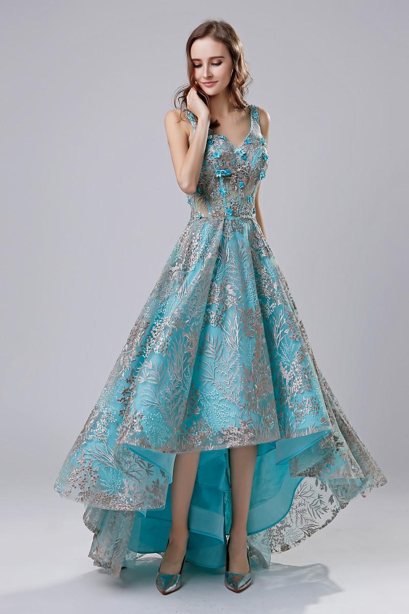 2018 Short Fashion Lace Appliques Evening Dresses High Low V Neck ...