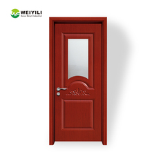 Modern Style Interior Bathroom PVC Wood Frame Glass Insert Door With Grill Design