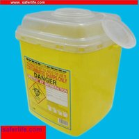 yellow round shape 0.8L 2L 4L 6L bio medical waste bin square medical sharp 8L 240L container medical waste cases with handle