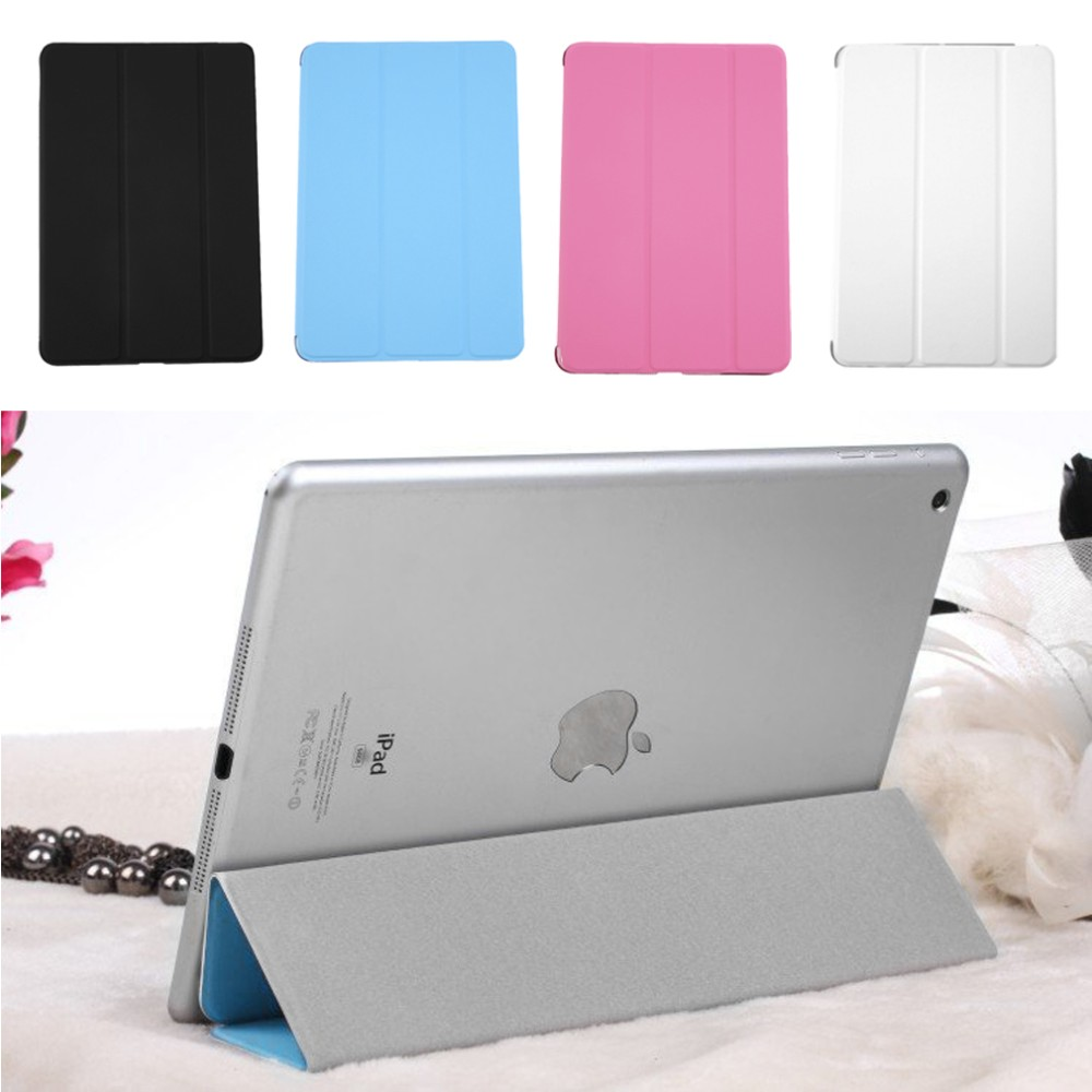 "Ultra Slim Tri-Fold PU Leather Case with Crystal Hard Back Smart Stand Case Cover for iPad mini 1 2 3 7.9"" tablet Flip Cover"