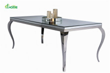 classic dinning table with stainless steel glass mirrored dining room table