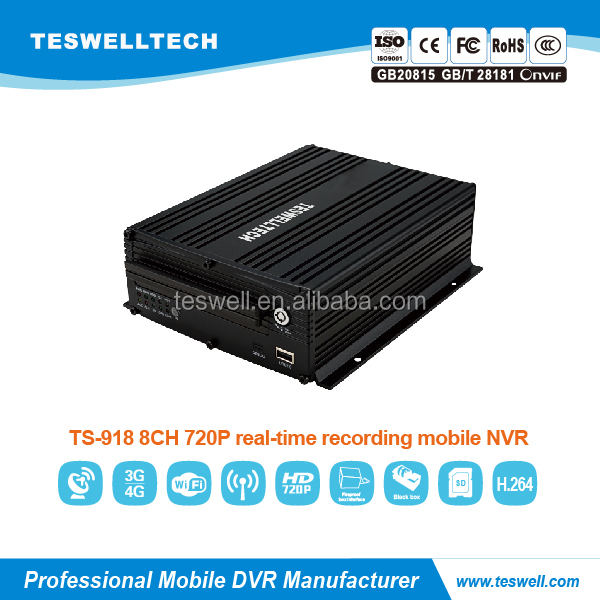 Teswell h.264 720p 4ch waterproof ONVIF NVR kit hd survillance ip cctv mobile NVR gps wifi fcc ce rohs mdvr