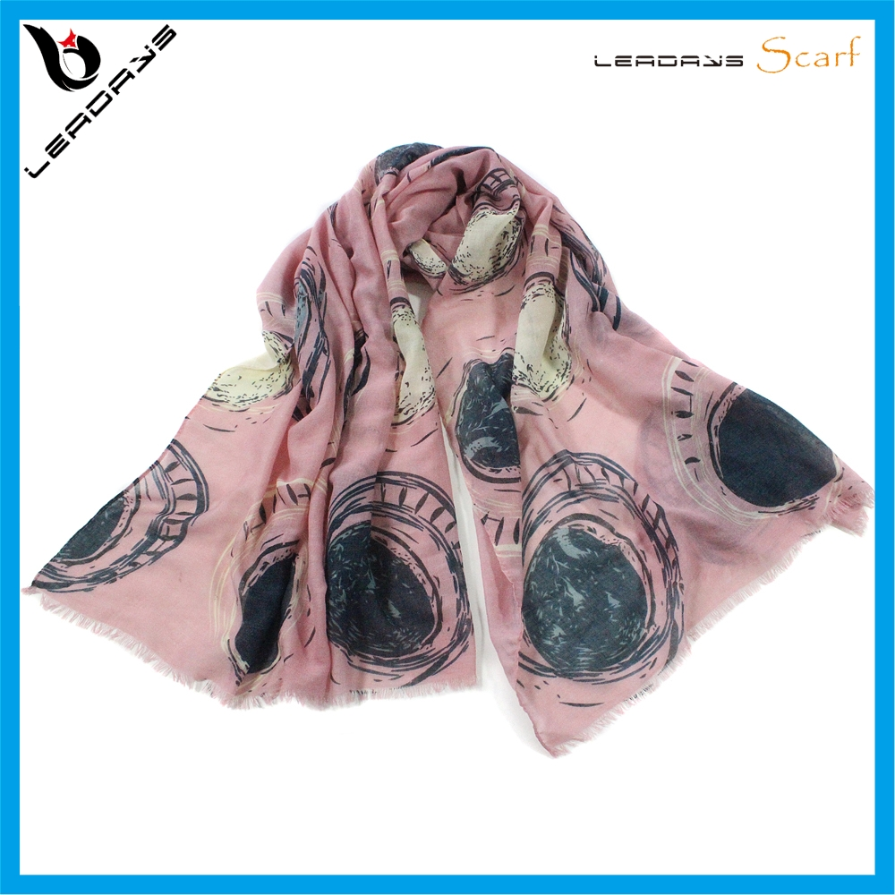 New Arrive Satellite Pattern Pink Cotton feel scarf polyester Woman Scarf