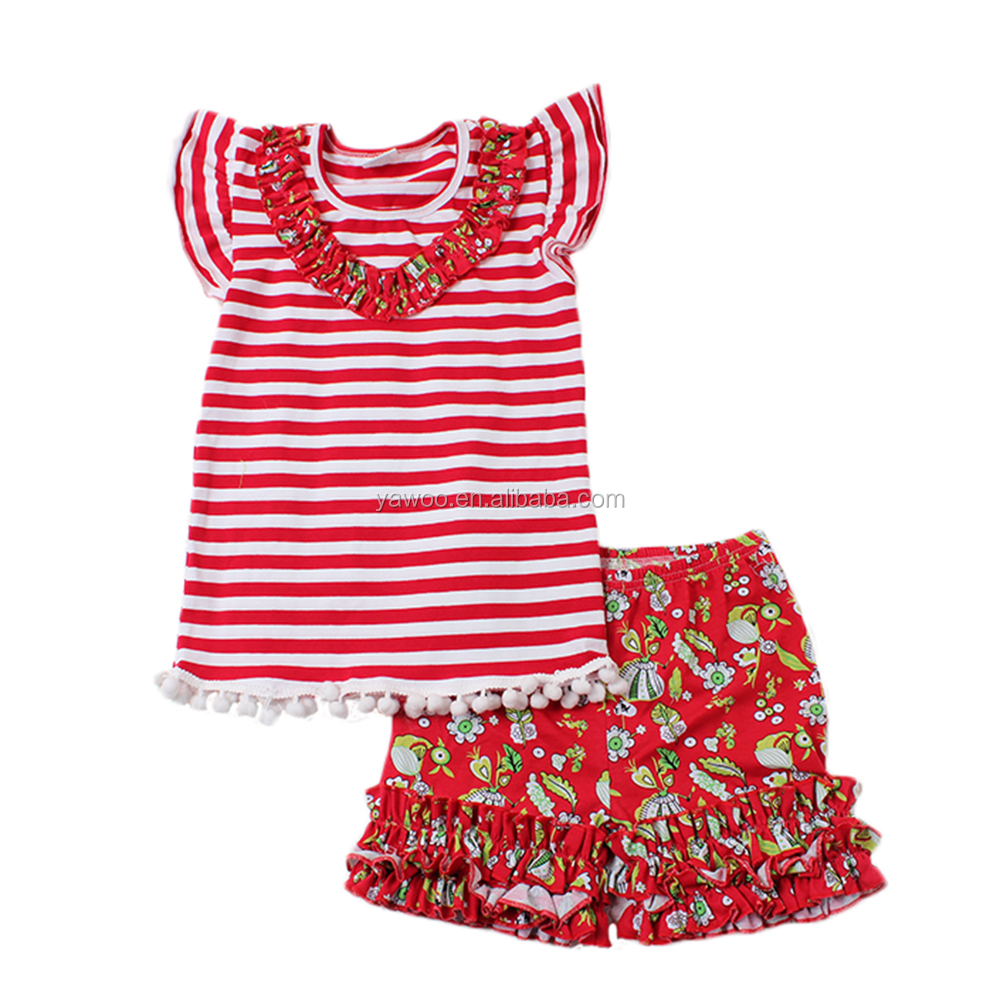Big Discount 2017 yawoo infant toddlers red stripe match icing ruffle shorts clothing kids boutique clothing