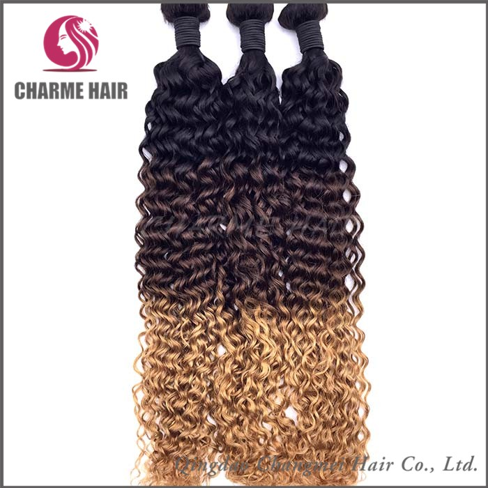 Alibaba Best Quality Factory Price Curly Ombre Colored Hair Weave