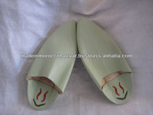 Pale Green Moroccan Handcraft Genuine Leather Babouche Slippers For Men
