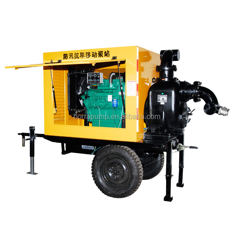 Factory Sale Diesel Engine Trash Centrigugal Pump with Trailer Mounted
