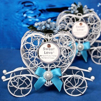 Wedding Candy Favor Box Blue Flower and Bow Metal Carriage Chocolate Box