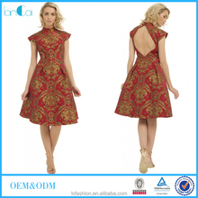 Royal Feast classic noble design old England flavor printed dresses for women knee-length vintage dress