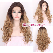 "22"" Heat Resistant Fiber Three Tone Red Mixed Brown Roots Blonde Ombre Highlight Long Wavy Middle Part Lace Front Synthetic Wig"