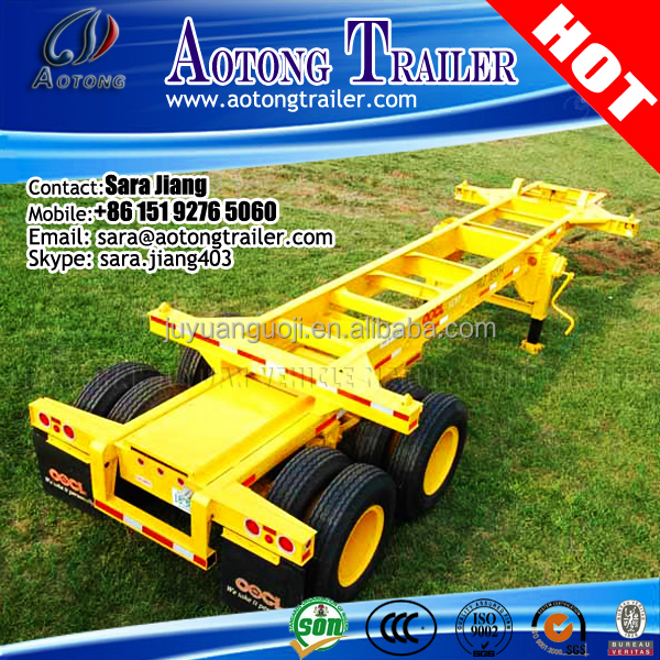AOTONG 20ft Tri-Axle Super Slider/ Skeleton Container Trailer with 385/65R22.5 tire