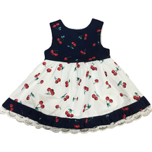 Wholesale children's boutique clothing sweet baby girl custom cherry printed dress