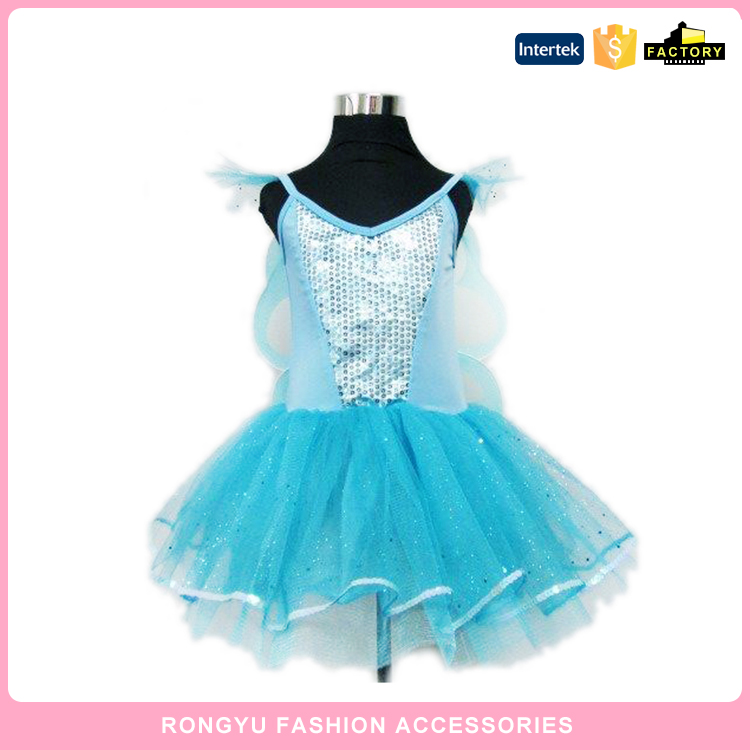 2016 new blue glitter dress with wing kids party item