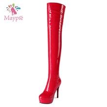 New Style Ladies Winter Warm Thigh High Stiletto Long Booties Women Sexy High Heels Latex Boots
