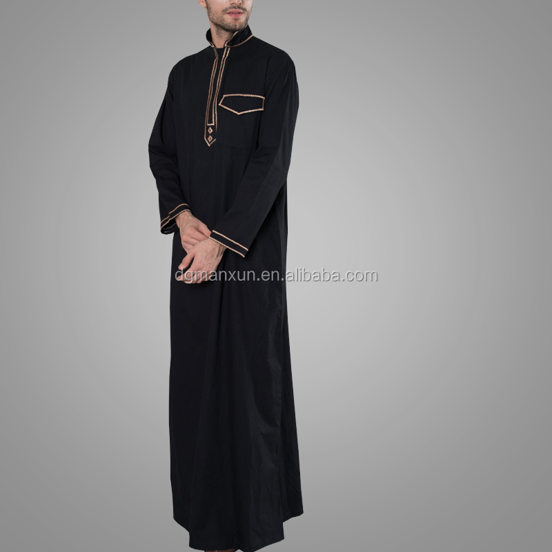 New Modern Design Saudi Country Gold Embroidered Mens Thobe Fashion Jubba Islamic Men Clothing