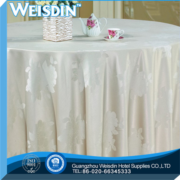 Banquet manufacter Printed cheap fabric tablecloths decorated round table cloth