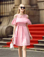Western style women pure cotton off-shoulder dress fashion party lady A line casual dress summer fashion dress