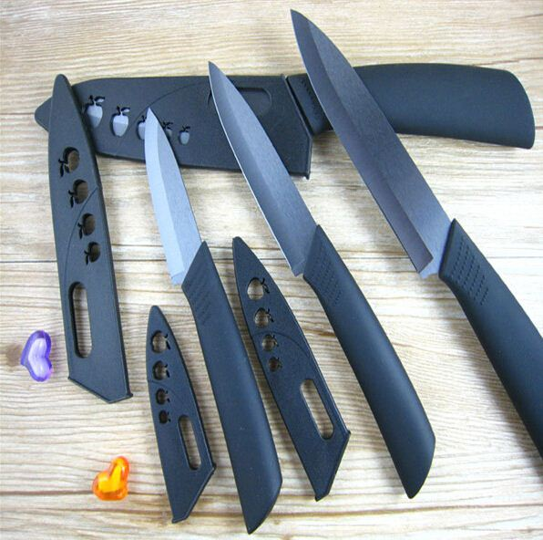2016 New Arrival Hot Sale Black Blade Ceramic Knife Set Chefs Kitchen Knives 3 4 5 6 inch Peeler + covers Beautiful Gift