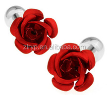 Wholesale European fashion high quality electroplate flower crystal cufflink