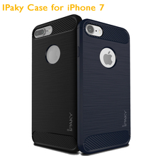 Wholesale IPAKY Phone TPU Drop-proof Carbon Fiber Case for iPhone 7