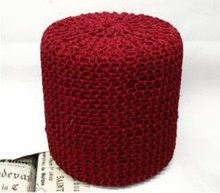 Polyester Knitted Ottoman Wooden Stool for Living Room