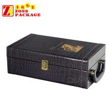 High end luxury PU Leather red wine box packaging