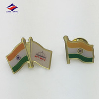 High end metal epoxy goldedn flag shaped badge