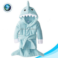 Top selling cheap cute shark baby hooded bath towel set custom fashion 100% cotton terry kids bath towel coat