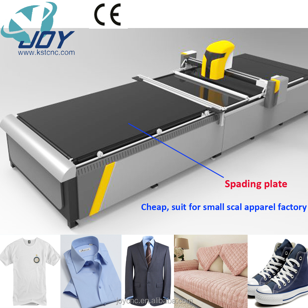 JOY KP-N2026 small scale apparel factory delicated fabric cutting machine with spading plate/table