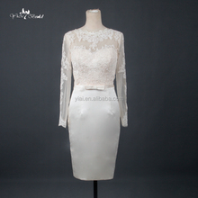 RQ110 Elegant Simple Long Sleeve Sheer Back Lace Wedding Dresses Short