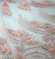 Fashion French Lace For Bridal/Wholesale Handwork Pink 3d Lace Fabric with Pearls/Cute Women Lace Fabric