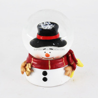 Custom New Design Unique Resin Glass Christmas Snowman Snow Water Globe