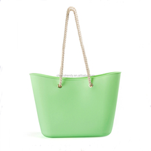 New Design Waterproof Pure Color Silicone Rubber Beach Bag Casual Tote Bag