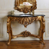 C249 Bathroom Antique Gold Console With Wash Basin