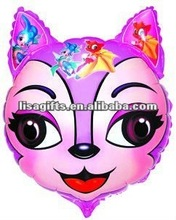 2012 hotting cat face shaped mylar balloon