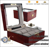 6 slot Camphor grain wood watch box with tempered glass window GC02-LG3-06HZH