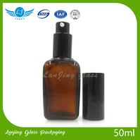 50ml Luxury Packaging clear empty cosmetic perfume fragrance glass bottle with pump sprayer
