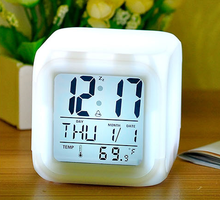 LED digital table clock, day month year clock