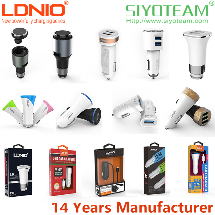 lighter plug and car charger LDNIO 1 2 3 USB Ports Quick Charging mini usb car charger