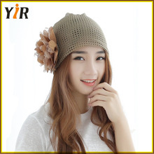 2016 ultra-thin breathable lady quilt head hat Wool knitting hat