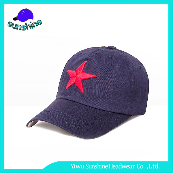 High quality metal closure jean hats 3d embroidery five-pointed stars baseball cap for young people