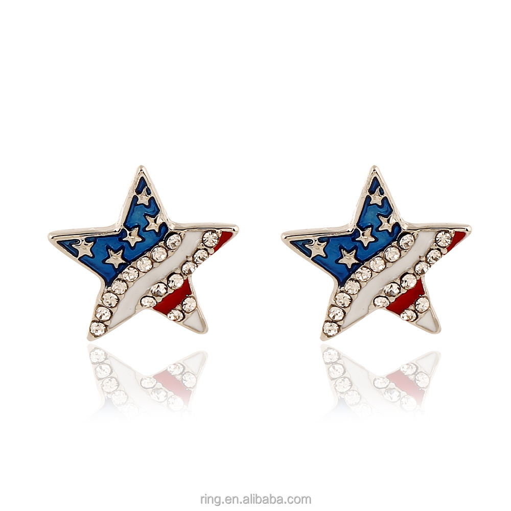 Hot Product National Flag Diamond Stud Earrings